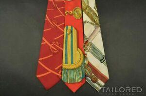 """LOT of 3 - HERMES SCARF PRINT Red Geometric 100% Silk Mens Luxury Tie - 3.25"""""""