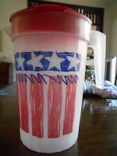 Americana Flag Patriotic Pitcher 128 oz. Gallon Serving Plastic Red White Blue !