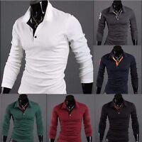 NEW Mens Stylish Slim Fit Casual Fashion T-shirts Polo Shirt Long Sleeve Tops US