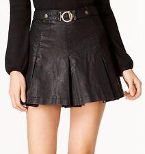 Free People OB550090 'But I Love It' Faux-Leather Black Mini Skirt Size 2