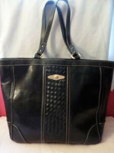 ELLIOTT LUCCA BLACK LEATHER WOVEN FRONT XL TOTE PURSE