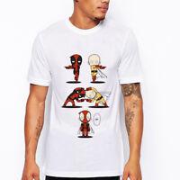 Funny Deadpool ONE PUNCH MAN Print Casual Short Sleeve T-shirt Summer Tee Top