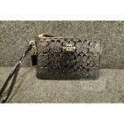 COACH Corner Zip $85.00 Black Signature Debossed Patent Leather Wristlet Wallet