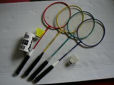 4 Stück Federballschläger 2 Nylonbälle Federballset Badmintonset