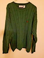 Vintage IZOD Men's Cable Knit Pullover Crew Neck Sweater Dark Green Large