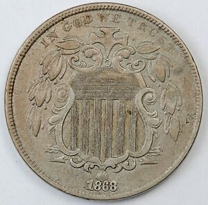 1868 United States Shield Five-Cent Nickel - XF Extra Fine Condition