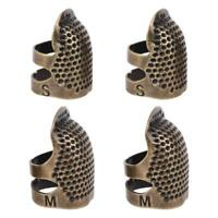 4pcs/set Sewing Thimble Adjustable Finger Protector Metal Shield Pin Needles DIY