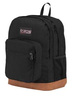 Jansport Large Laptop School Student Backpack Black Faux Leather Bottom - NEW!!