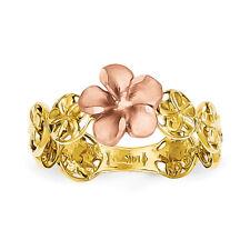 14k Two-tone Gold D/C Plumeria Flower Ring K5126 Size 7