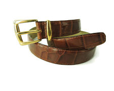 Erreghe D DAMIANI Italy Brown Alligator Texture Leather Belt Size 32 / 85 men's