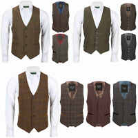 New Men's Waistcoat Retro Oak Brown Tweed Herringbone Check Vintage Smart Casual