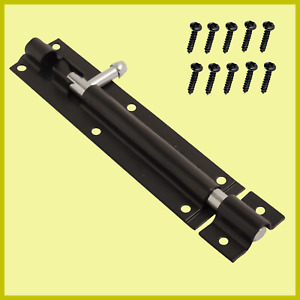 """6"""" Inch Security Tower Bolt Sliding Powder Coated Door Gate Shed Bolt Heavy Duty"""