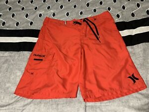 Hurley Mens Swimming Trunks Red Size 32