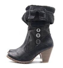 TAMARIS Damen Stiefel Boots Gr. 40 UK 7 Grau Kunstleder Gefüttert TOP WIE NEU