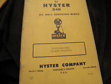 hyster d4 d4n  oil well serviceing winch parts book with instruction manual