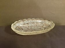 Vintage Floral Cut Glass Oval Celery Dish Sawtooth Edge