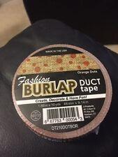"Fashion Burlap Duct Tape Orange Dots 1.88"" x 10yds New!!!"