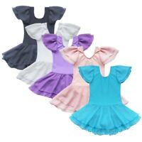 Girls Short Sleeve Gymnastics Ballet Dance Leotard Tutu Dress Ballerina Costume