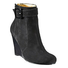 NEW in BOX Nine West SUZIER Black Suede Ankle Wedge Boots Booties 12M
