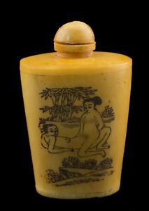 Bottiglia Bottiglietta Boccetta Arte Shunga Erotico Giapponese Vintage 25379 E7