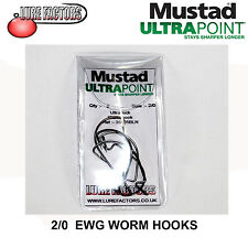 ULTRA Point Mustad Ultra Lock Worm Hooks, 2/0 38105BLN - 5 Hooks per pack