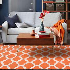 Large Orange Floor Rug Cotton Moroccan Trellis Modern Handmade Carpet 190x280cm