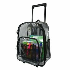 Rolling Clear Backpack Heavy Duty bag See Through Transparent  with Wheels Black