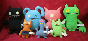 7 2002-2004 Uglydolls Plush Stuffed Figures Sizes 4.5-7.5 Fea Bea Bat Wage Jeero