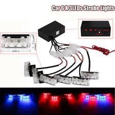 6X 3LEDs Car Vehicle Red & Blue Strobe Emergency Flashing Police Warning Lights