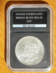 Highly Collectable Genuine Uncirculated Morgan Silver Dollar 1879 - Encased PCS