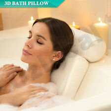 Breathable 3D Mesh Spa Bath Pillow with Suction Cups Neck & Back Support White