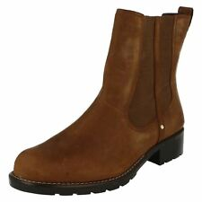 Ladies Clarks Chelsea Pull on BOOTS Orinoco Club Brown Snuff UK 6 D