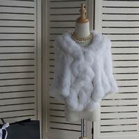 White Bridal Wedding Shawl White Shrug Real Rabbit fur Shawl Poncho Cape Wrap