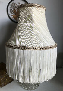 VINTAGE DOWNTON VICTORIAN STYLE BESPOKE CREAM GOLD FRINGED PLEATED LAMP SHADE