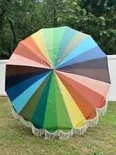Vintage Rainbow Mid Century Modern Macon Patio Umbrella Fringe Large Outdoor