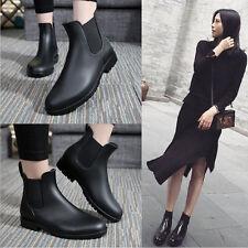 Unisex Women Men Flat Low Top Rain Boots Waterproof Ankle Rubber Boots Black New