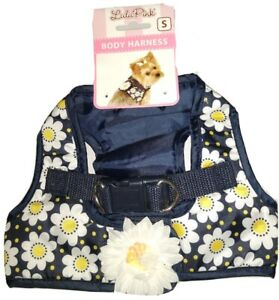 Lulu Pink Dog Body Harness Small Blue With White Daisy And A White Daisy On Back