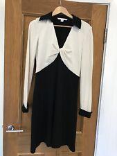DVF Diane Von Furstenberg Black & Cream Twist Wool Dress US 10 UK 14 Worn Twice