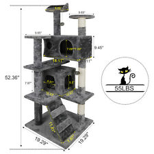 "53"" Large Cat Tree Activity Scatch Tower Kitty Play House Plush Perch w/Ladders"