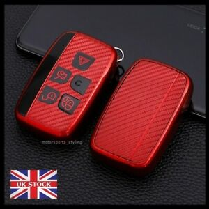 Red Carbon Fiber Remote Key Fob Cover For Land Rover Range Rover Jaguar t45cf*