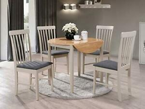 Kyla Grey Painted Solid Wood Round Drop Leaf Dining Set with 2 Chairs Grey Seat