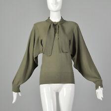 M Sonia Rykiel 1980s Green Sweater Open Vented Armpits Designer Knit 80s VTG