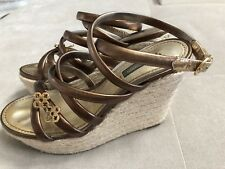 Auth Louis Vuitton Platform Wedge Sandals Shoes Sz 36 Brings Leather Gold Logo