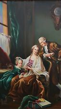 Museum Artwork Rockwell Painting Family Portrait Father Mother and Daughter