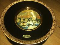 Chokin Plate San Francisco City View & Golden Gate Bridge 24KT Gold Made Japan