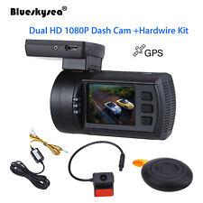 Blueskysea 0906 Dual 1080P Lens Car Dash Camera GPS DVR Cam +Hard Wire Kit Mini