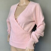 THE LIMITED SIZE M Pastel Baby Pink Angora Lambswool Long Sleeve Wrap Sweater