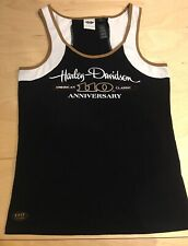 Harley Davidson 110th anniversary Women's Tank Top Shirt Black Gold XL