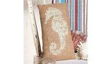 "Cream-Color SEAHORSE Print Primitive Small Burlap Pillow - 12"" x 6"""
