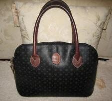 Vintage Authentic Pollini Signature Tote Bag footed w Key Zip Top 2 Handle Italy